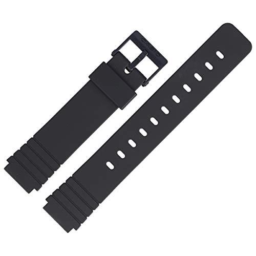 Casio Correa de reloj de 16 mm de plástico negro – MW-57