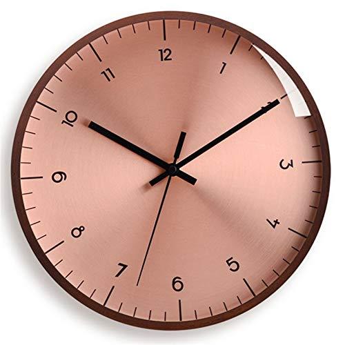 ZHANGNING Reloj de Pared Vintage American Nordic Relk Sala de Estar Moderno Minimalista Reloj Moda Luz Luxury Wall Watch Silent Cuartz Wall Wall Home Reloj de Pared Decorativo (Color : Pink)