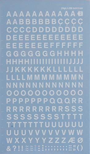 APLI DDB11F - Lettere e numeri trasferibili neri lettere 6 mm bianco