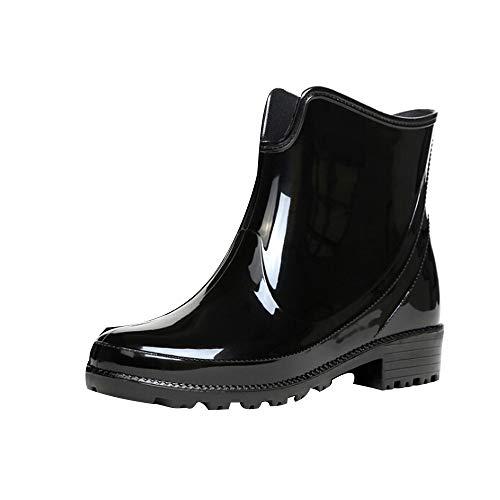 Gummistiefel Damen Kurze Regenstiefel Chelsea Boots Bequeme Stiefeletten Kurzschaft Stiefel Frauen Regenschuhe wasserdichte Schlupfstiefel Celucke (Schwarz, 40 EU)