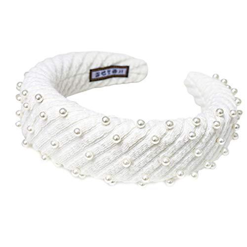 MEIKONG Femmes Solide Couleur Dentelle Rayures Bandeau Maquillage Style Éponge Épaisse Large Cerceau De Cheveux Imitation Perle Perles Banquet Headpiece