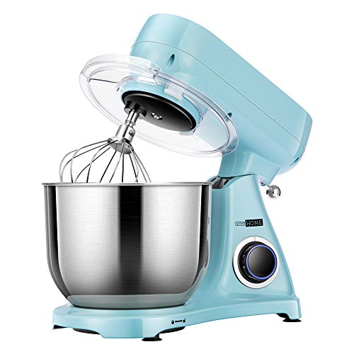VIVOHOME 6.7 Quart 800W Stand Mixer with All-metal Housing, 6-Speed Tilt-Head Electric Food Mixer with Cast Aluminum Beater, Dough Hook and Whisk, Blue, MET Listed