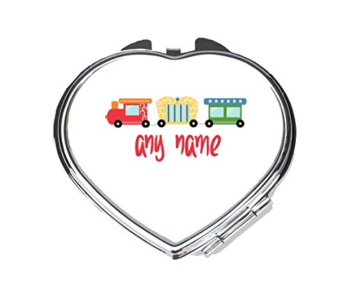 Personalised Circus Train With Name Any Text [CIRCJS] compact pocket mirror - silver heart shape