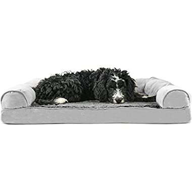 FurHaven Orthopedic Ultra Plush & Velvet Sofa-Style Couch Pet Bed for Dogs and Cats, Gray, Large