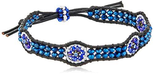 Miguel Ases Tanzanite Hydro-Quartz Flower Station Leather Slip-Knot Bracelet
