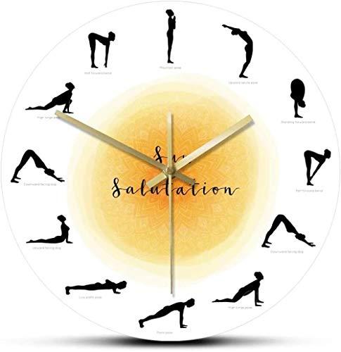 XXNZZJ Co.,ltd Secuencia Pose de Yoga Silueta Reloj de Pared no Saluda al Sol Saludo Reloj de Pared Estudio de Yoga decoración Regalo para Yogis30x30cm