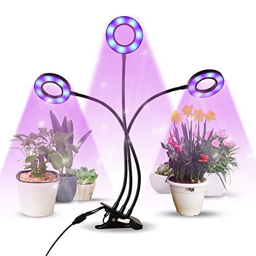 infinitoo Lampada per Piante, Grow Light Lampade LED per Piante con Timer 3/6/12H Lampade LED Coltivazione,5 Luminosità Luce per Piante per Semina,Crescita,Fioritura e Fruttificazione