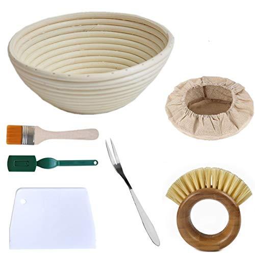 Gärkörbchen Rund, ø 25 cm, Höhe 8.5 cm Banneton Proof Korb für Brot und Teig Backen Pinsel, Einlage und Brotgabel.Teigspachtel Brot-Lahme besen inklusiv