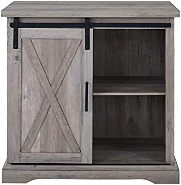 """Pemberly Row 32"""" Farmhouse Sliding Barn Door Wood Accent Chest Home Coffee Station Buffet Storage Cabinet in Gray Wash"""