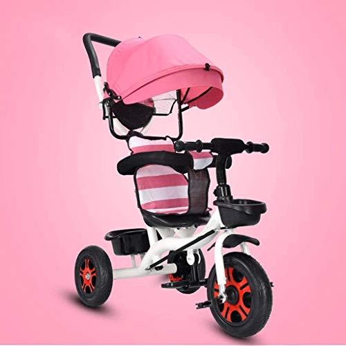 TOKUJN Bicicleta para niños de Tres Ruedas, Bicicleta de 1-3-6 años de Edad, con Canasta de Almacenamiento Grande y Sistema de Frenos Dual, Adecuado para niñas y triciclos de niños (Color : Pink)