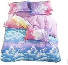 LemonTree 3D Girls Comfortable Rainbow Sky Clouds Printing Bedding Sets 4pcs Queen