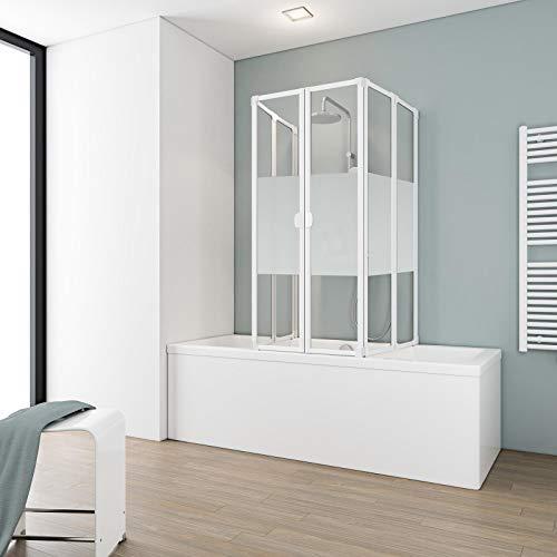 Schulte Duschabtrennung faltbar für Badewanne 70-80 cm, einfacher Aufbau, 3 mm Sicherheitsglas Dekor Dezent, alpinweiß, langlebig, D1700 04 100