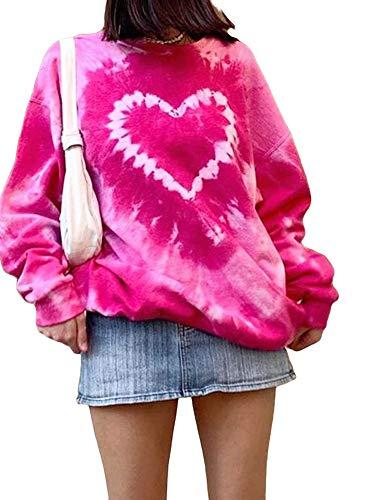 Damen Valentinstag Krawatte Dye Y2k Sweatshirts mit Herzdruck Lässige Langarm Tops Oversize Pullover T-Shirt Top (Rosa, S)