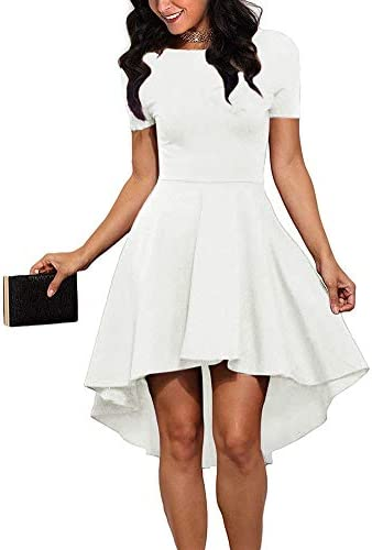 REORIA Women Womens Scoop Neck Short Sleeve High Low Cocktail Party Skater Dress Off White Small product image