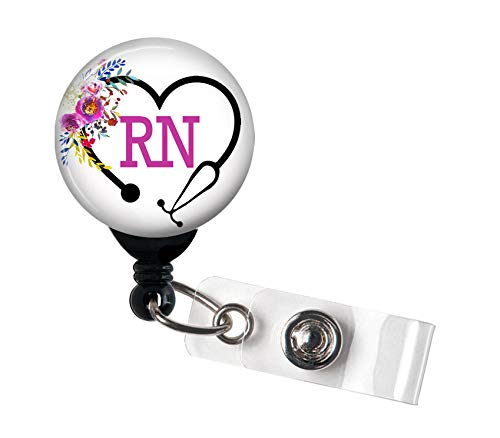 RN Heart Steth Floral - Retractable Badge Reel with Swivel Clip and Extra-Long 34 inch Cord - Badge Holder/Registered Nurse/RN/Nurse