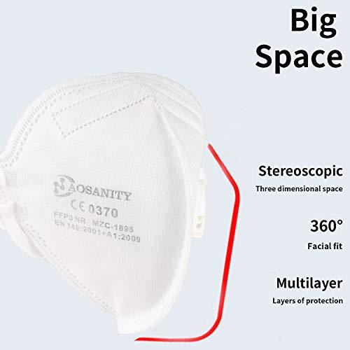 10X FFP3 Maske CE Zertifiziert Schutzmaske Mundmaske, 6-Lagen-Atemschutzmaske, Staub-Atemschutzmasken Faltbare Staubschutzmasken Mund-Nase Gesichtsschutz Norm EN149:2001+A1:2009 mit Ventil 10Stück - 2