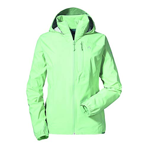 Schöffel wind- und wasserdichte Damen Jacke mit Pack-Away-Tasche, superleichte und flexible Regenjacke, patina green, 40, 12895