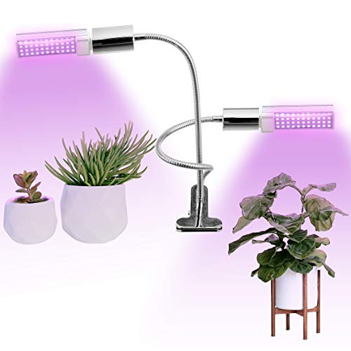 Full Spectrum LED Grow Light for Indoor Plants, 45W Equivalent Dual Head Lamp with Adjustable Gooseneck and Rotatable Bulb, Grow Lamp for Indoor Garden, Flowers, Vegetables, Bonsai Tree, Succulent