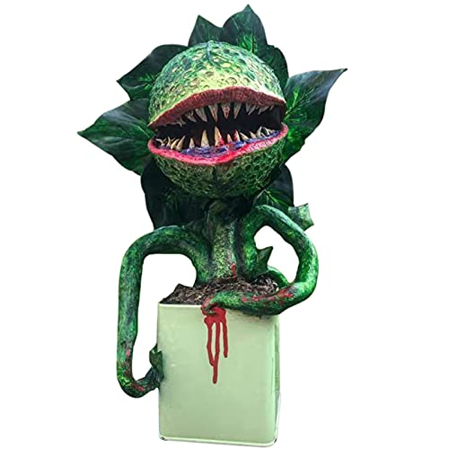 laoonl Piranha Flower Réplica Adornos Película Prop Yard Resina Estatua Pequeña Tienda de Horrores Decoración de Halloween