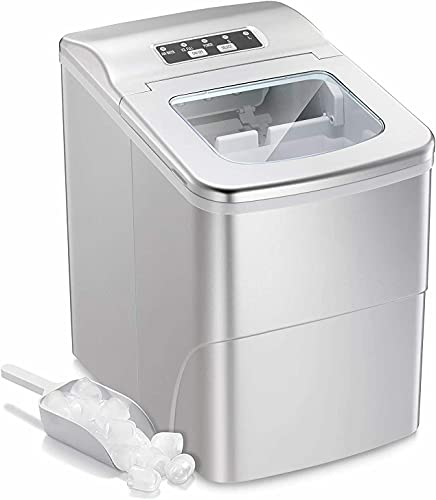 Countertop Automatic Ice Maker - 26lbs/Day, Ready in 6 Mins - Compact Auto Portable Ice Cube Maker with Scoop and Basket - Perfect for Home, Kitchen, Bar, Office, Dorm