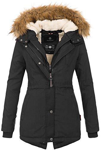 Marikoo Designer Damen Winter Parka warme Winterjacke Mantel Jacke B601 [B601-Schwarz-Gr.L]