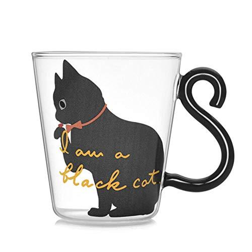 XMYNB Kaffeetasse Niedliche Kitty-Glas-Wasser-Schale Katzen-Schwanz Griff Tasse Milch Tee Kaffee Fruchtsaft Becher Trinkgefäß Home Office Cup-Liebhaber-Geschenke,EIN