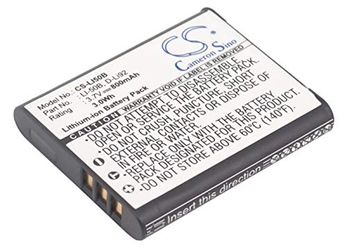 800mAh Battery for PENTAX Megazoom X70, Optio RZ10, Optio WG-1