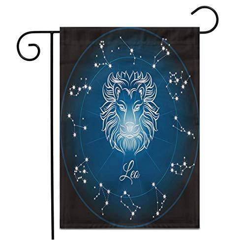 12,5 'x 18' Gartenflagge Horoskop Sternzeichen Löwe und Kreis Sternbilder Abstrakte Tier Outdoor doppelseitige dekorative Haus Hof Flaggen