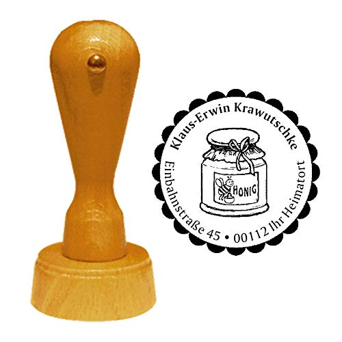 Stempel adresstempel » IMKER - Honiglas » diameter ca. Ø 40 mm - met persoonlijk adres, motief en sierrand - beroep imkerei honing glas
