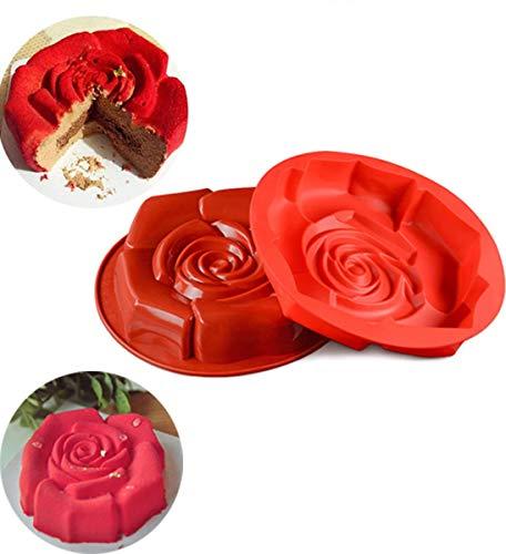 MKNZOME Stampo per Pane in Silicone Stampo per Torta di Compleanno Fiore Rosa Stampo per Dolci da 12 `` x 2 '' per Feste e Festival