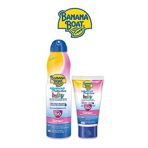 Banana Boat Bebé – Bruma Solar para Bebés con Protección Muy Alta SPF 50 220ml + Crema Solar Protectora Anti-Arena para Bebés con Protección Muy Alta SPF 50 – Pack de 2