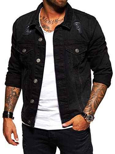 behype. Herren Destroyed Jeans-Jacke Denim 55-0190 Schwarz XL