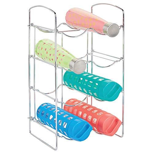 mDesign Práctica estantería para botellas – Botelleros para vino y otras bebidas para guardar hasta 8 unidades – Vinoteca de metal de pie para todo tipo de botellas – plateado