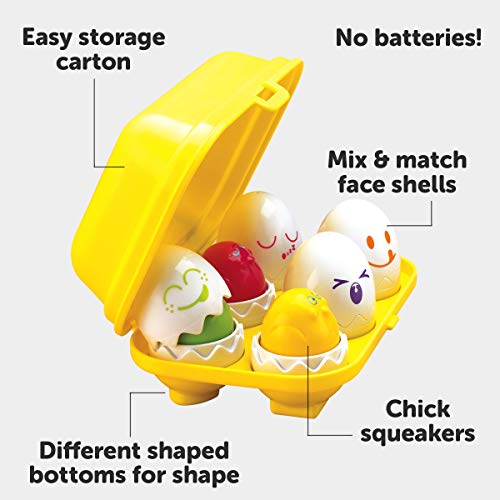 TOMY Toomies Hide and Squeak Eggs, Educational Shape Sorter Baby, Toddler & Kids Toy, Suitable For 6 Months & 1, 2 & 3 Year Old Boys & Girls ,Various,E1581