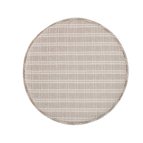 KEKOR Chair Cushion Round Chair Cushion, Cotton Child Non-slip Small Cushion Adult Living Room Office Cushion With Adjustable Buckle, Beige, Light Blue,2 pieces (Color : Beige, Size : 33cm)
