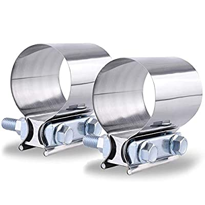 """SPEEDWOW 2.25"""" Butt Joint Exhaust Band Clamp Sleeve Stainless Steel 2 Pieces"""