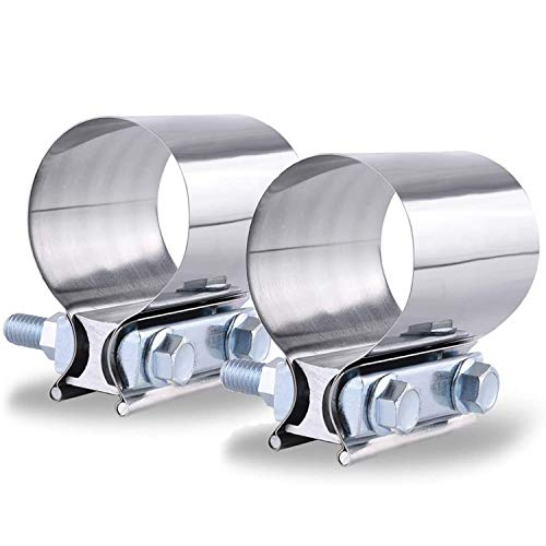 SPEEDWOW 2.25 Inch 2 1/4 Butt Joint Exhaust Clamp Band Coupler Sleeve Stainless Steel 2 PCS