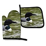 XCNGG Guantes para microondas Loon Nature Bird Oven Mitts and Pot Holders Sets, Gloves Oven Mitts Potholders with Recycled Cotton Waterproof Heat Resistan Non-Slip Safe for Cooking, Baking, BBQ, Decor