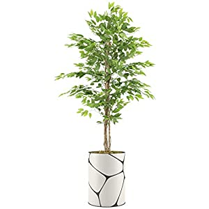 """Silk Flower Arrangements SIGNWIN Artificial Ficus Tree in a Geometric Lines Texture Vase - Modern Indoor Floor Plant Decoration for Home or Office - Large Size 87"""" Overall"""