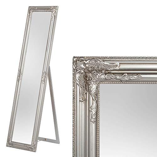 LEBENSwohnART Standspiegel Domingo 160x40cm Antik-Silber Ankleidespiegel Ganzkörperspiegel