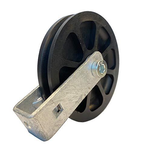 Seilrolle 100 mm für Seile bis Ø 9 mm aus Kunststoff, mit Halterung verschraubt - Made in Germany