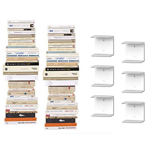 6 Mensole libreria a scomparsa invisibili, colore: Bianco, per mettere i libri in pila (6)