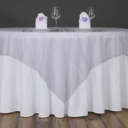 BalsaCircle 10 pcs 72x72-Inch Lavender Sheer Organza Table Overlays - Wedding Reception Party Catering Table Linens Decorations
