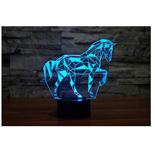 Luz nocturna para niños Luz nocturna 3D Caballo animal salvaje 7 colores cambian la luz nocturna para niños con Smart Touch Regalo genial para niñas niños