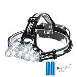 LED ヘッドライト 充電式 2000ルーメン 作業灯 防水 釣り用ヘッドライト 防災用ライト 登山用ヘッドライト 18650
