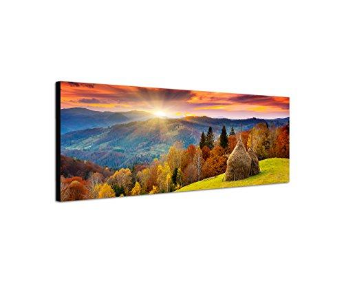 Wandbild auf Leinwand als Panorama in 150x50cm Wald Berge Wiese Herbst Sonnenuntergang