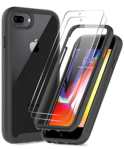 LeYi iPhone 8 Plus Case, iPhone 7 Plus Case, iPhone 6 Plus Case with Tempered Glass Screen Protector [2 Pack], Full-Body Shockproof Hybrid Bumper Phone Cover Case for iPhone 6s Plus,Black/Clear