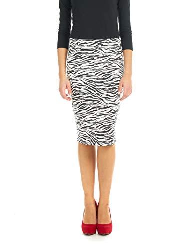 ESTEEZ Women's Denim Pencil Skirt Stretch Jean Knee Length Brooklyn Zebra 14