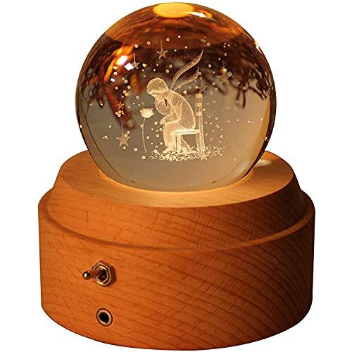 WLQWER Luz de Noche de la Bola de Cristal 3D con la Base de la lámpara LED, la Caja de música giratoria, la Base de Madera Luminosa, el Regalo de la Navidad de la Hija, Hija