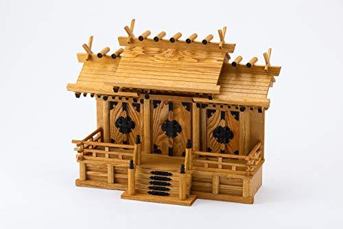 神棚の里 神棚 屋根違い三社(中)けやき色 ナチュラル 47×61.5×25.5cm